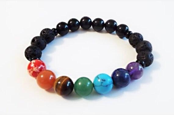 Chakra Balancing Lava Bead Diffuser Bracelet By
