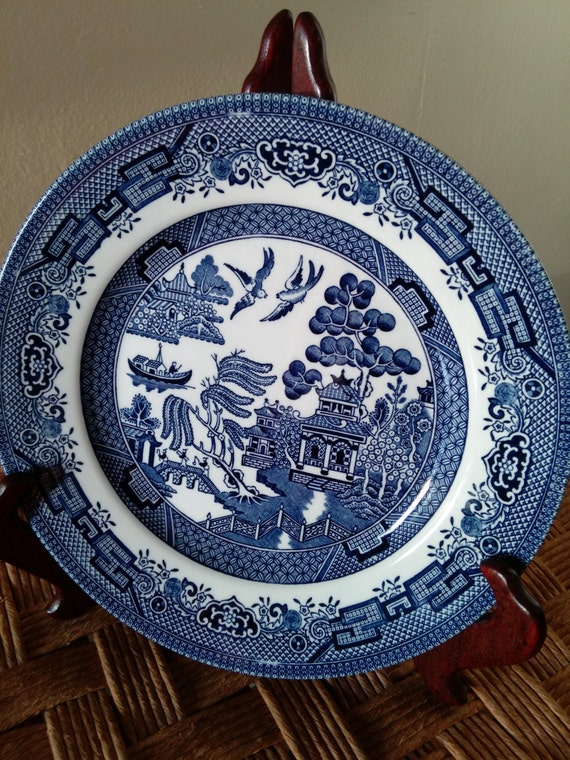 """SAVE 25% WITH CODE: SAVE25 Vintage 9"""" Round Vegetable Bowl in Willow-Blue (Georgian Shape) by Churchill China"""