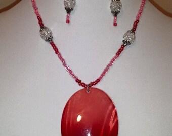 Pink Oval Sea Shell Necklace - Sea Shell Necklace - Pink Necklace - Women's Necklace - Jewelry Set - Necklace - Earrings - Women's Jewelry