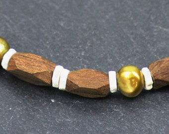 TSUMKWE 1 - necklace wooden nit beautiful beads - handmade