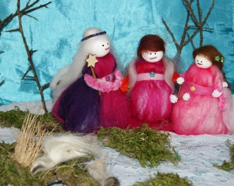 The Crone, The Mother and The Maiden - wool felt fairy
