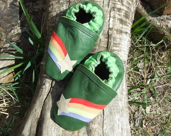 Infant moccasins, soft sole, natural leather, comet baby shoes, rainbow, baby gift, baby boots, leather sole, booties, baby shower gift