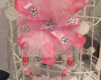 Pink satin feather bead personalised pram buggy stroller charm