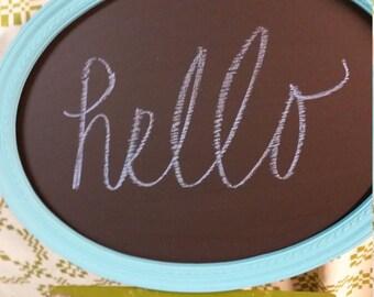 Oval Turquoise chalkboard