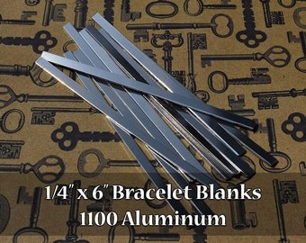 10 - 1100 Aluminum 1/4 in. x 6 in. Bracelet Cuff Blanks - Polished Metal Stamping Blanks - 14G 1100 Aluminum - Flat