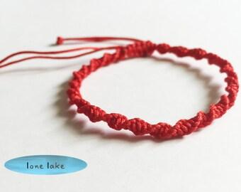 red spiral bracelet-woven-braided-mens red bracelet-black-gray-grey-gift for him-friendship bracelet