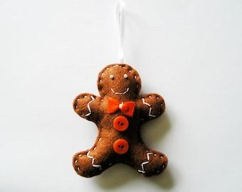 Gingerbread Man Christmas tree ornaments, home decor, Felt ornaments, embroidery handmade, christmas ornament