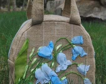 Handmade bag burlap   Bag   Designer purse   Bag burlap and silk ribbon   satin   gift   Embroidered Tote Bag   Flower Tote Bag   Handbags
