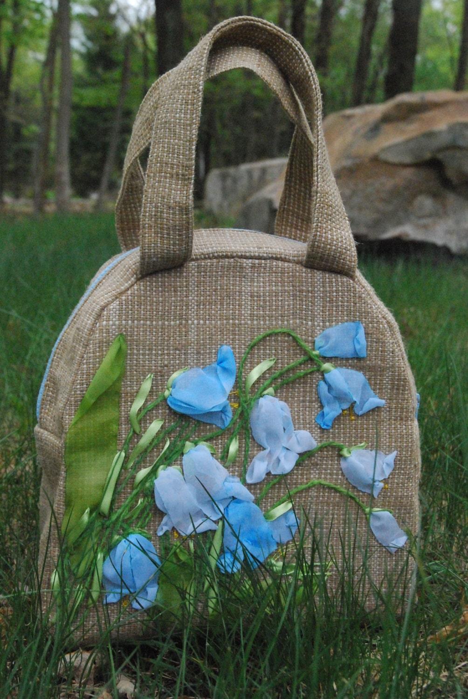 Handmade bag burlap designer purse and