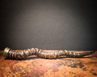 African Black Buck Horn Vial with a Brass Cap