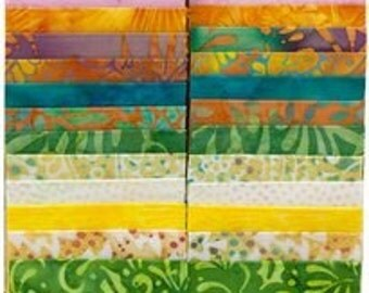 "Island Batiks ""Dewdrops"" Strip Set  40 -2 1/2 inch strips - jelly roll - yellow, green, pink, cream, pastels"