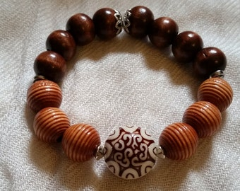 Wooden Boho Stretch Bracelet
