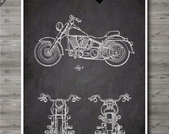 Harley Motorcycle poster, Harley Davidson patent, Art print, Paper poster, Harley moto, motocycle Wall Art, Decor no133