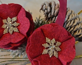 Scalloped Berry Felt Ornament with Snowflake Embellishment and Sparkle