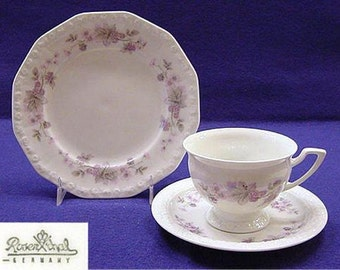 Rosenthal China Trio Set ~ CUP, SAUCER & PLATE Maria Classic Rose Pattern c. 1979