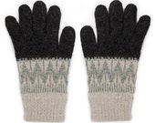 Knitted Black & Grey Lambswool Gloves