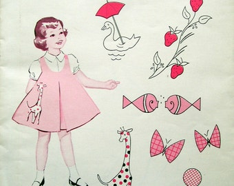 Vintage Singer Pattern 6 Applique Designs for Decorating Little Girl's Dresses