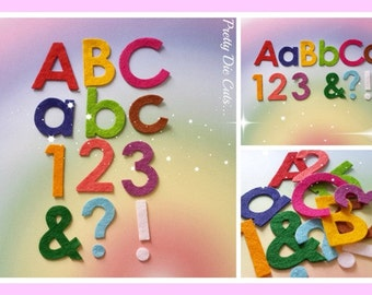 Felt Die Cut Letters, Numbers and Punctuation Marks, upper and lower case letters, mixed colours, craft embellishment
