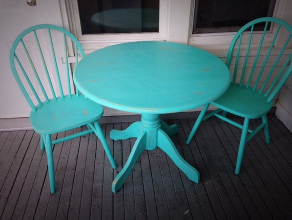 chairs kitchen patio painted with beautiful turquoise chalk finish