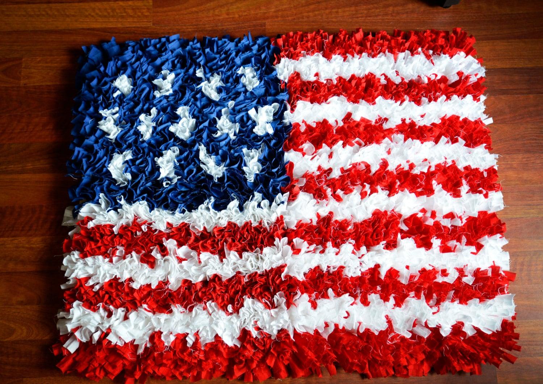 Shag Fabric Rag Rug Photo Prop Flag Americana Home Decor