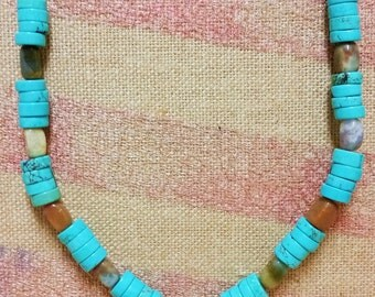 Turquoise Blue & Brown Necklace with Cross Pendant