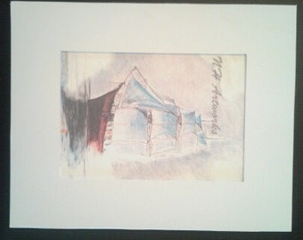 Ship in Fog- Drawing Matted Print