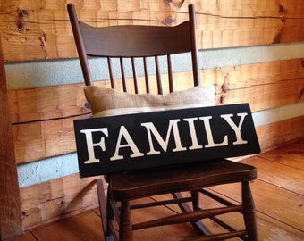 Hand painted Wood Family Sign, Black With White lettering