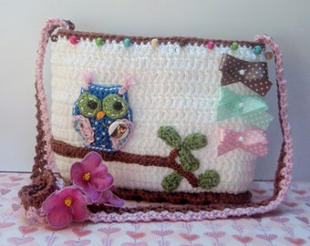 CROCHET PATTERN - Owl on a branch - crochet purse /handbag/ bag pattern DIY