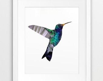 Hummingbird Geometric Print, Bird Wall Art, Hummingbird Triangle Mosaic Grey Blue Green, Modern Wall Art, Nursery Decor, Digital Printable