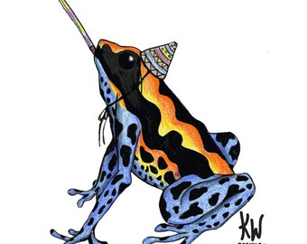 Humorous, Quirky 'Party Poison Dart Frog' Celebration Illustrated Greeting Card