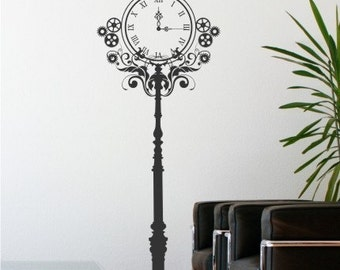 Steampunk Clock Wall Decal - Vinyl Text Wall Words Stickers Art