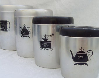 West Bend (USA) stackable aluminium kitchen canisters, 1960s