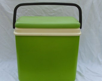 Lime green Curver 1970s coolbox, black carry handle, perfect for picnics