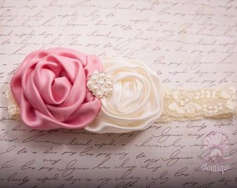 Shabby chic rosette baby headband, dusty pink and ivory headband, vintage headband