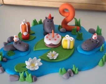 Edible fondant cake topper 'Hippo's Birthday Party in the lake', Animal Cake Decor