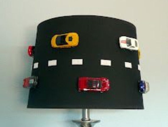 race car lamp shade free shipping by lampshadecentral on etsy. Black Bedroom Furniture Sets. Home Design Ideas