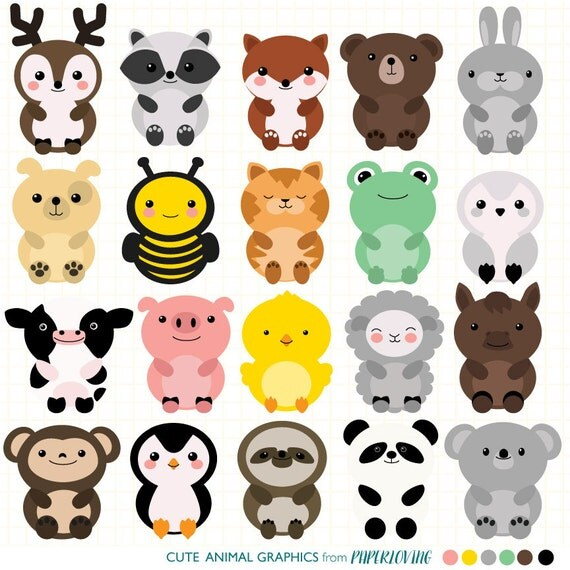Cute Animal Clipart Set: Mega-pack of 20 cute animal vector