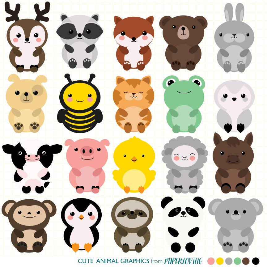cute animal clipart set mega pack of 20 cute animal vector cute animal clipart for monday cute animal clipart happy friday