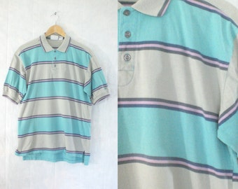 60%OFF Aug26-29 mens polo shirt size medium. striped polo shirt medium. teal pink cotton shirt. 80s dockers shirt. mens medium shirt. mens s