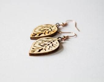 Small Wooden Leaf Earrings Dangle & Drop Earrings