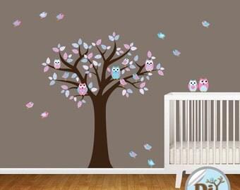 Pink Purple Blue Vinyl Decal - Nursery Wall Decal - Vinyl Tree Decal - Nursery Decals - Vinyl Wall Decal - Vinyl Wall Art - 528153