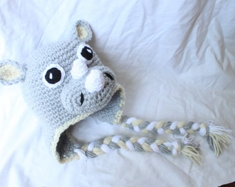 Handmade Crocheted Rhino Hat - made to order