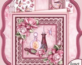 Perfumed Roses 8x8 Card Kit with Decoupage Download by Janet Briggs