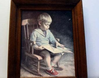Gary framed print on board, 1960 James Inwersen Boy Reading #1230