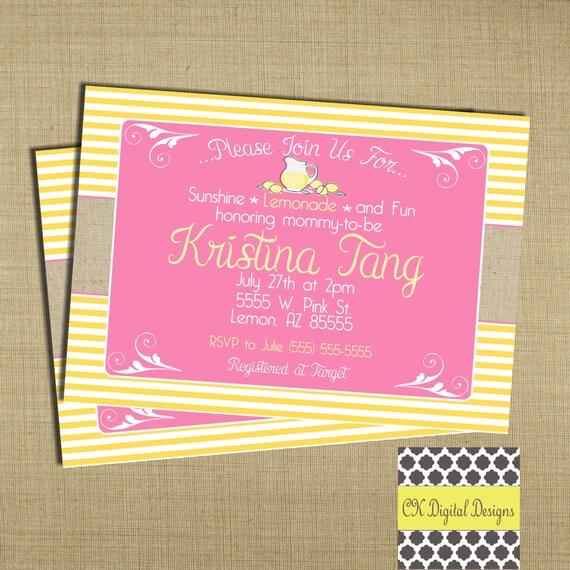 lemonade baby shower invitation pink and yellow