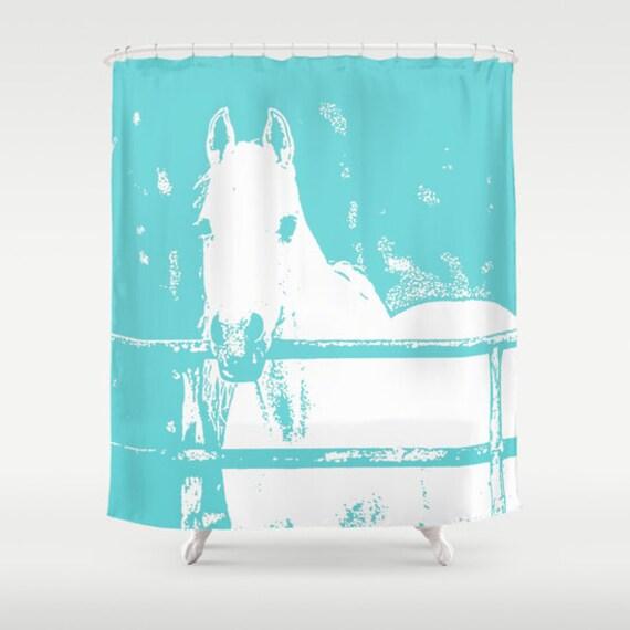 Animal Bathroom Decor : White horse shower curtainturquoiseanimal curtainbath