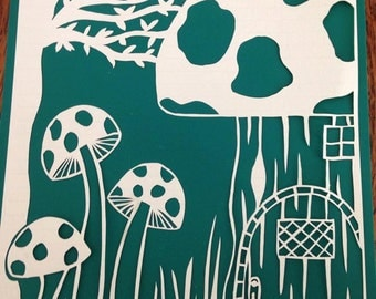 Fairy toadstool house paper cutting template. Personal and commercial use. (instant download)