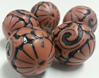 Vintage Lucite Black and Tan Etched 18mm Beads Set of 5