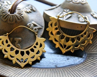 Tribal ethnic brass earrings