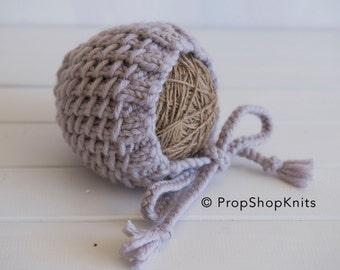 Newborn Chunky Bamboo Stitch Bonnet